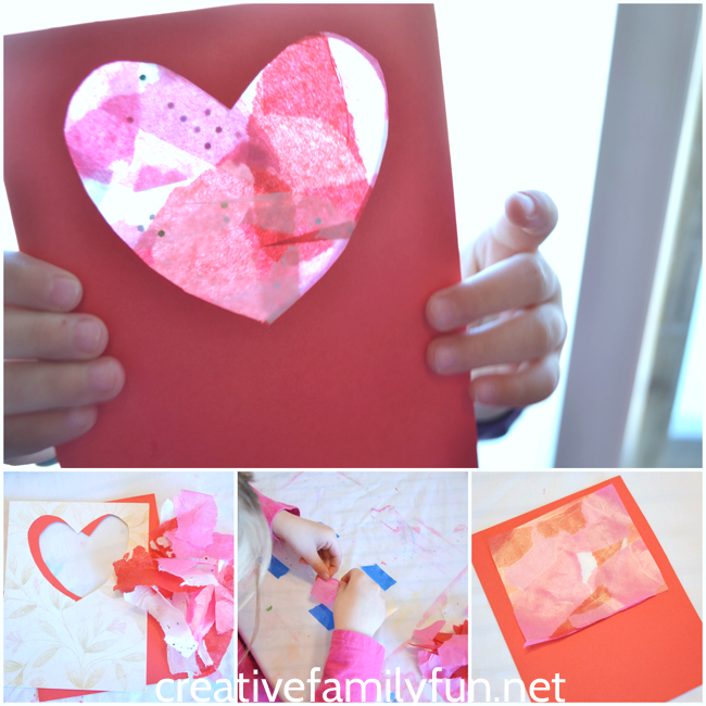 These kid-made Stained Glass Window Valentines are such a fun Valentines gift for family and friends. This is such a pretty Valentines craft for kids.