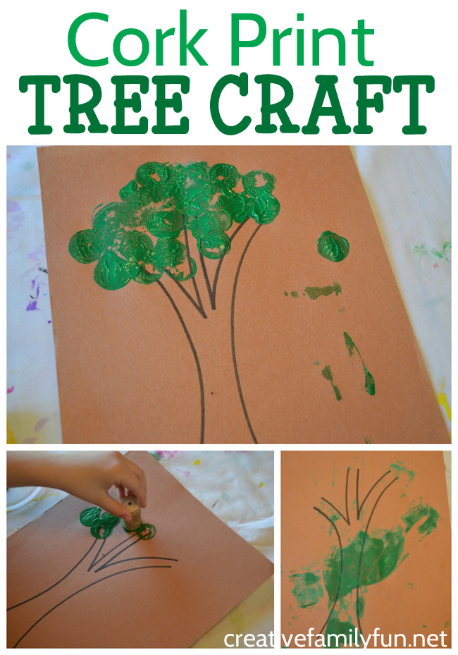 This cork print tree craft for toddlers and preschoolers is a fun printmaking project that is simple to do. Make a pretty green tree or an autumn tree.