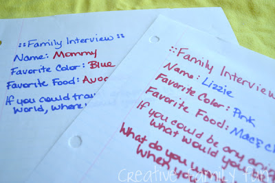 Creative Family Fun Nights: Family Interviews