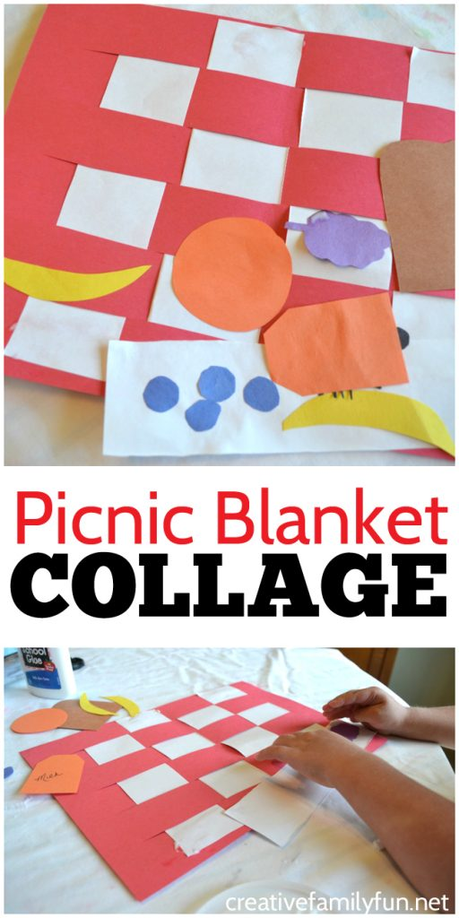 Use paper weaving along with cutting and pasting to make this fun and simple Picnic Blanket Collage Kids Craft. It's an easy to make fun picnic-themed process art activity for kids.