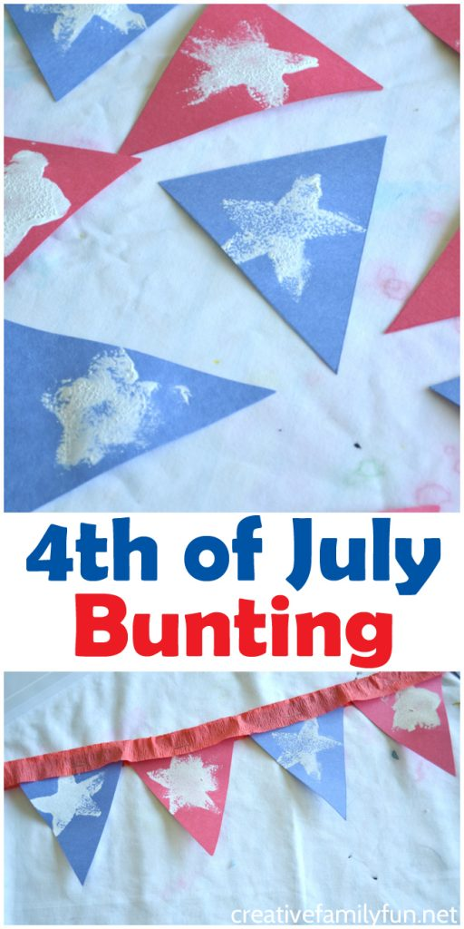 Decorate with this simple 4th of July bunting kids craft. It's a fun and festive patriotic craft that your kids will love to make.
