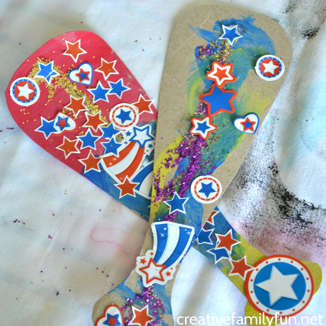Grab a few supplies from the recycling bin and craft closet to make this fun colorful and glittery cardboard baseball bat kids craft.