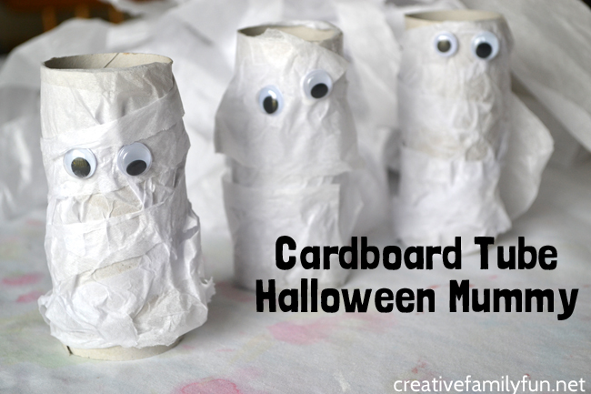 Grab some simple craft supplies and recycled materials for this cute kids Halloween craft, a Cardboard Tube Halloween Mummy craft.
