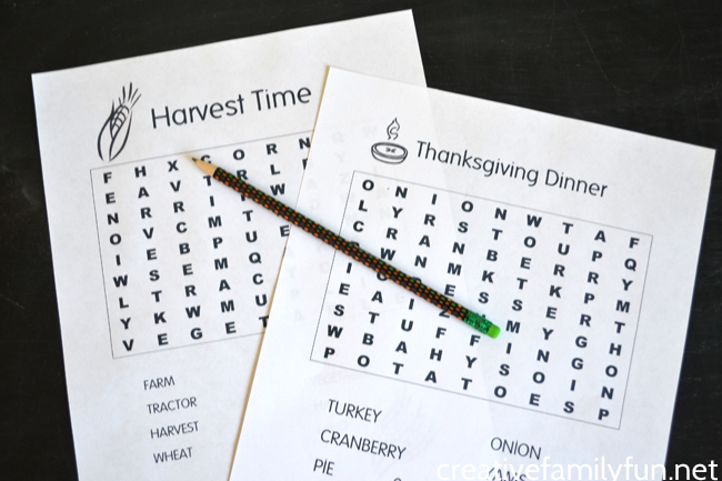 Print out one or both of these fun Thanksgiving Word Searches for kids. Get the Harvest Time word search and Thanksgiving Dinner word search here.