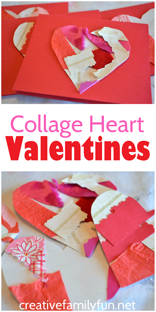 Make beautiful Valentines cards out of textured collages with this Collage Heart Valentines craft for kids. They're so much fun to make! #ValentinesDay #kidscraft #CreativeFamilyFun