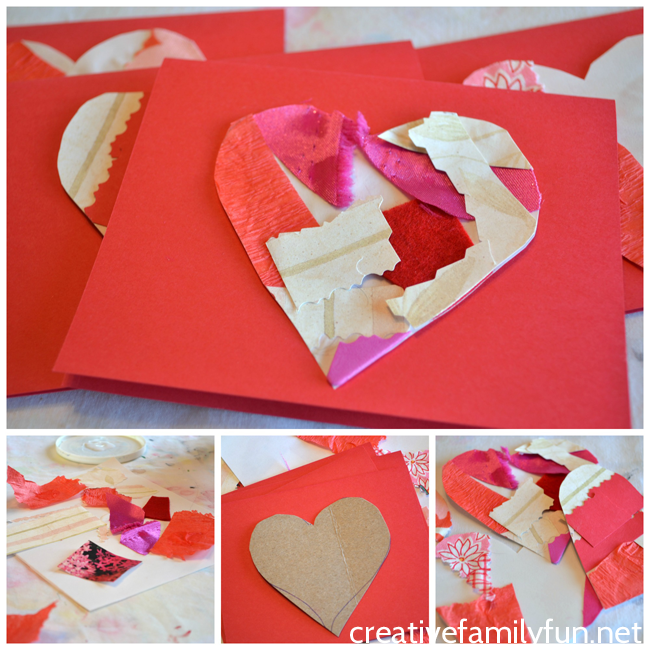 Make beautiful Valentines cards out of textured collages with this Collage Heart Valentines craft for kids. They're so much fun to make!