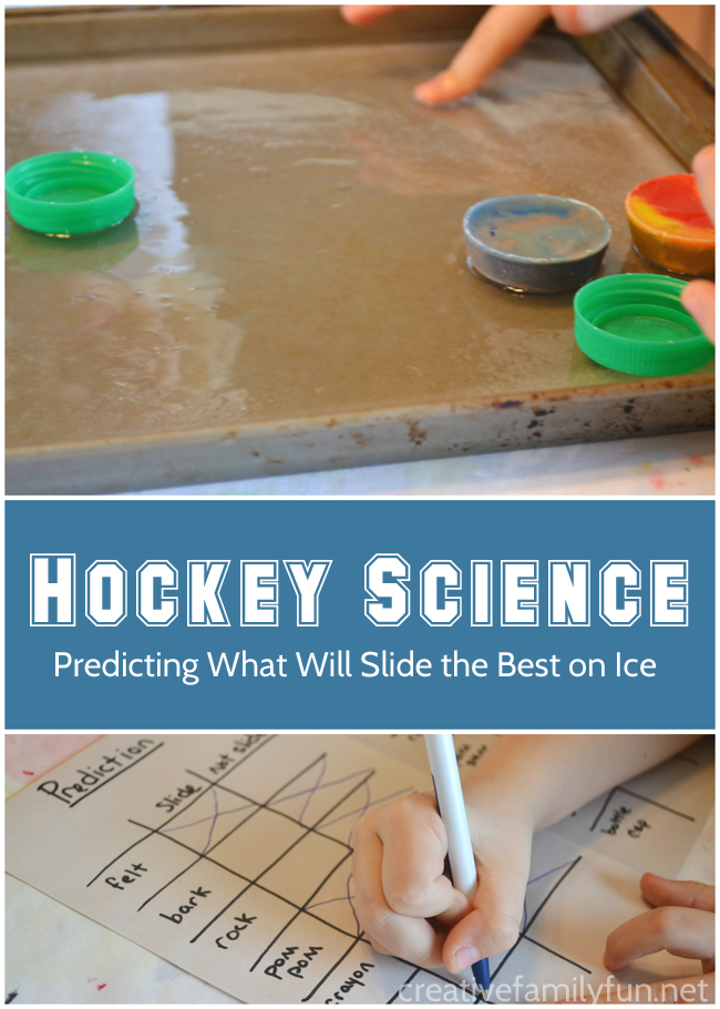 What slides the best on ice? Experiment with friction and find out the answer with this fun hockey science project for kids. #STEM #science #kids #education #CreativeFamilyFun