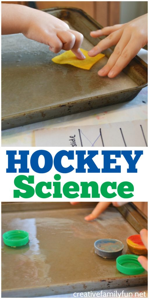 What slides the best on ice? Experiment with friction and find out the answer with this fun hockey science project for kids.