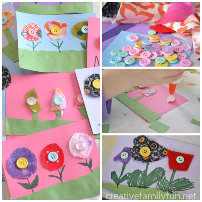 Button flowers a spring flower craft for kids creative family fun grab some scrap fabric and buttons to make this pretty spring flower craft for kids mightylinksfo Choice Image