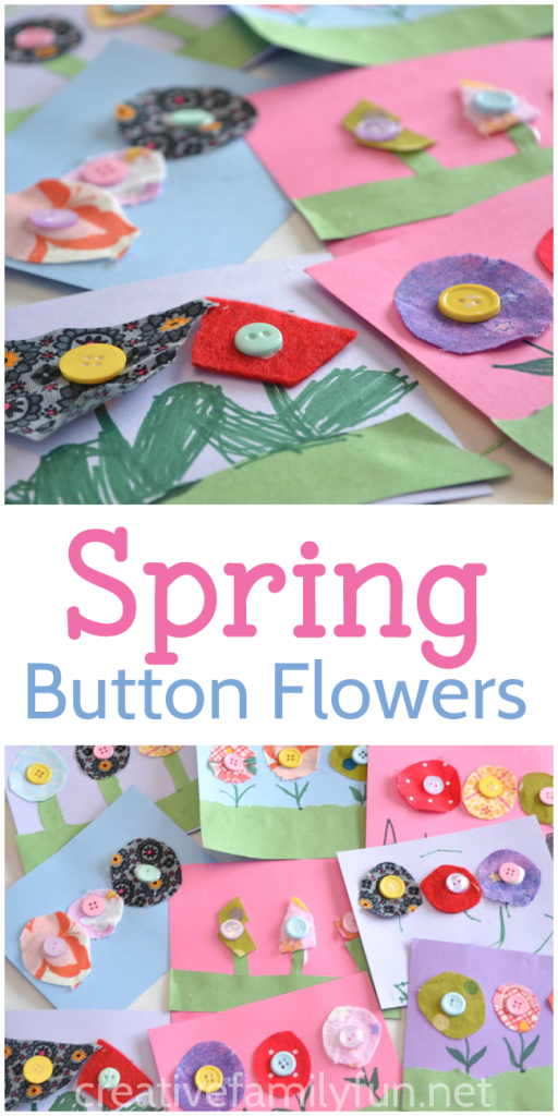 Grab some scrap fabric and buttons to make this pretty spring flower craft for kids. You can turn this craft into a fun note card to send to all your friends or it makes a fun Mother's Day gift for mom or grandma.