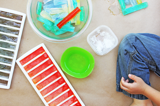Make some simple colored ice to use for creative activities, sensory play, STEM experiments, art projects and more. Colored ice is such a fun tool to use!