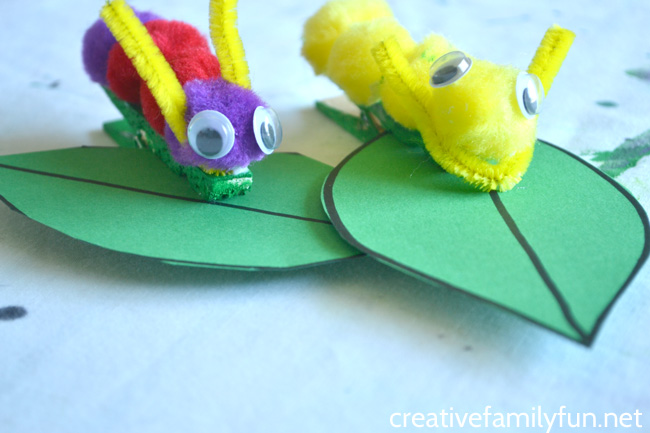 Grab some simple craft supplies to make this fun classic craft with your kids, Pom pom Caterpillar. It's so easy to make and looks so cute on it simple paper leaf.
