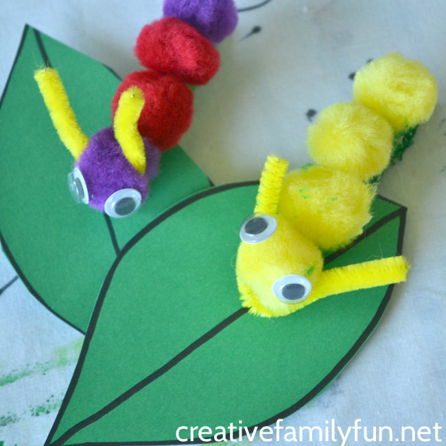 Grab some simple craft supplies to make this fun classic craft with your kids, Pompom Caterpillar. It's so easy to make and looks so cute on it simple paper leaf.