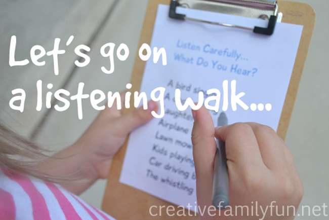 Use your ears to go on a fun listening scavenger hunt while you walk around your neighborhood with this fun walk idea for families, a listening walk.