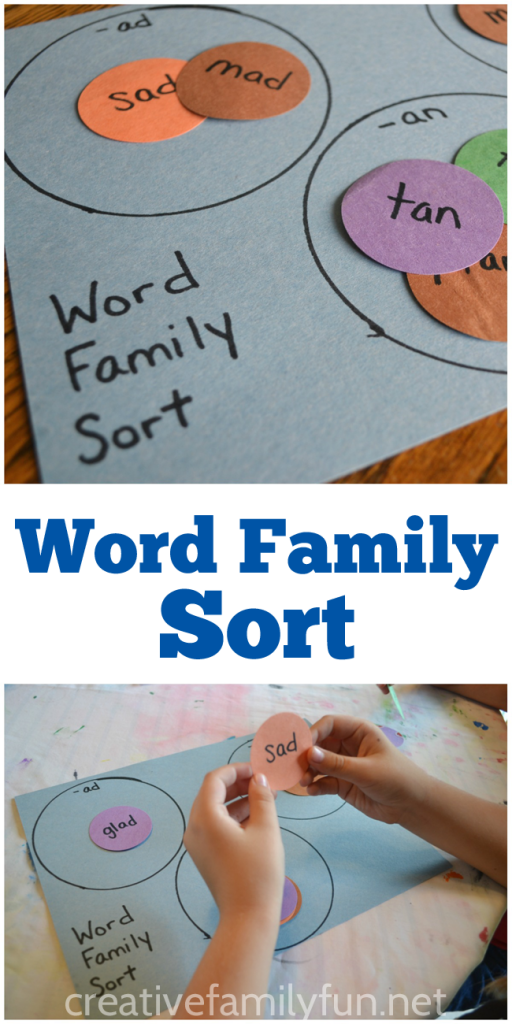 This fun word family sort game takes just a few minutes to make and it's a fun way to help your kids practice word families.