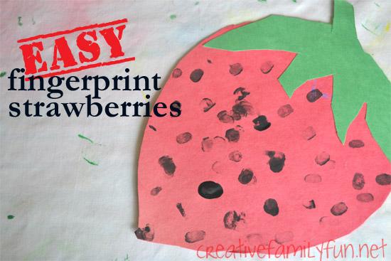 Easy Fingerprint Strawberry Craft