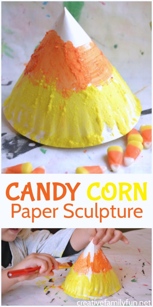 This fun candy corn craft is a fun and non-spooky decorations that kids can make. So, grab some supplies to make this awesome paper plate sculpture.