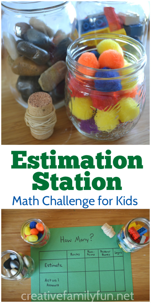 Challenge your kid's estimation skills with this fun estimation station math invitation. It's easy to set up and so much fun to play. #math #elementaryed #CreativeFamilyFun