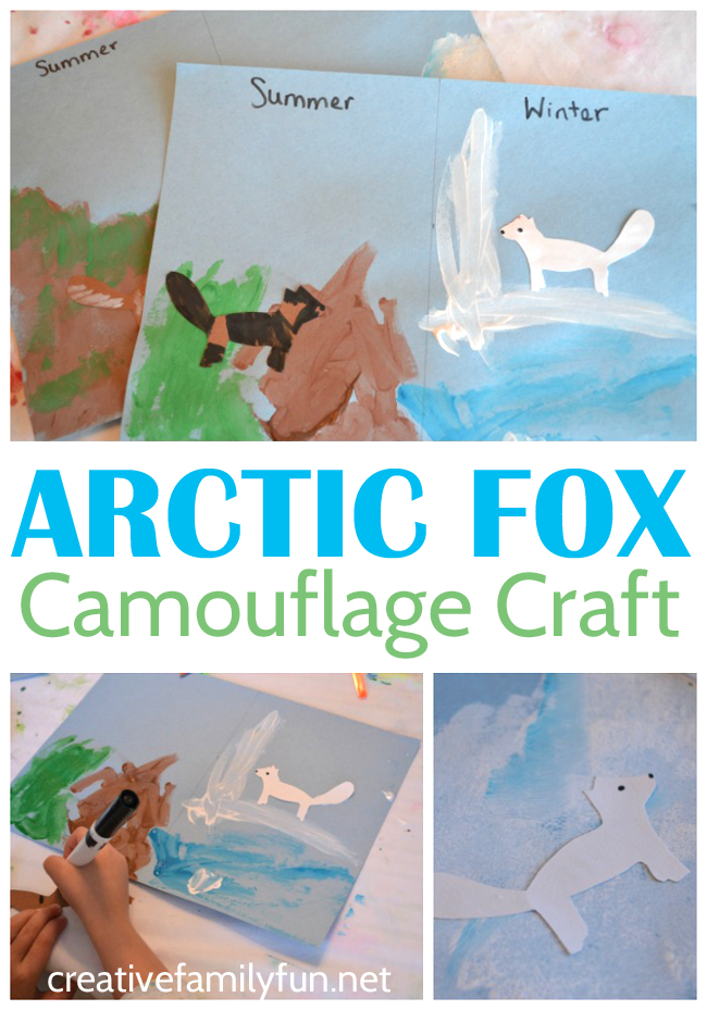 Learn all about the arctic fox and camouflage with this fun Arctic Fox Camouflage craft and activity for kids. It's a fun way to learn!