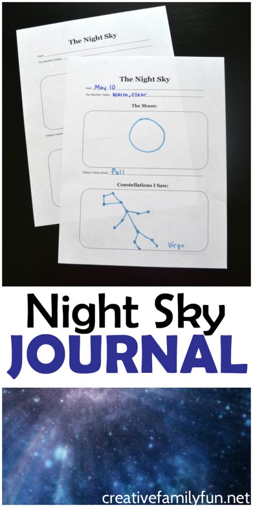 Great tip for observing the night sky for kids. Plus, you can write down your observations in this free printable night sky journal.