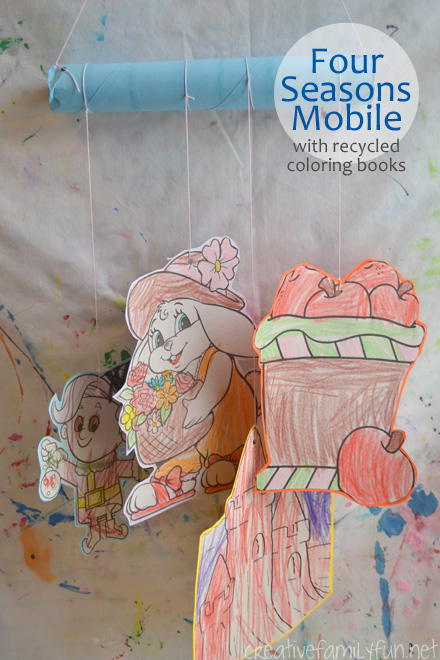Recycle your old coloring books or coloring pages to find something to represent each of the seasons so you can make this Four Seasons Mobile.