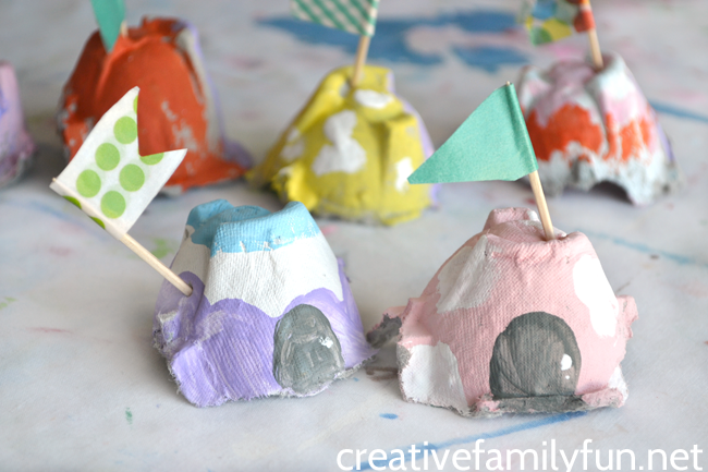 Use egg cartons to make a whole village of fairy houses. This fairy house craft is fun to create and fun for pretend play.