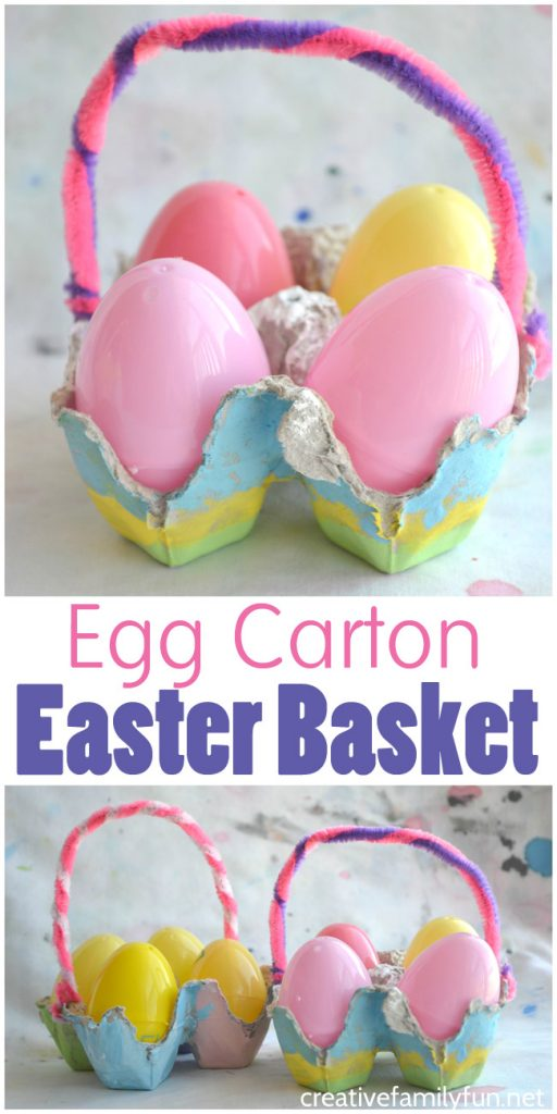 This simple Egg Carton Easter Basket craft for kids makes a fun and pretty little container to hold your plastic eggs or dyed Easter Eggs.
