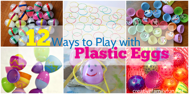 What do you do with all those leftover plastic Easter eggs? Here are 12 fun ways to play with plastic Easter eggs from crafts to art projects and also learning games.