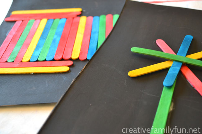 Grab a pile of colorful craft sticks and start creating a craft stick collage. You'll love the results of this craft stick art project for kids.