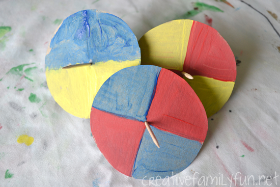 Use this fun color STEM activity to explore color mixing. These color mixing tops are a fun STEM craft to explore how colors combine to create a new color.