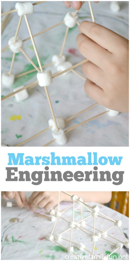 Get down to the basics with this simple STEAM building challenge, Marshmallow Engineering. It's fun, open-ended, and a great way to learn. #STEM #engineering #CreativeFamilyFun