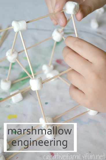 Marshmallow Engineering: a fun STEM activity using only marshmallows and toothpicks #STEM #engineering #CreativeFamilyFun