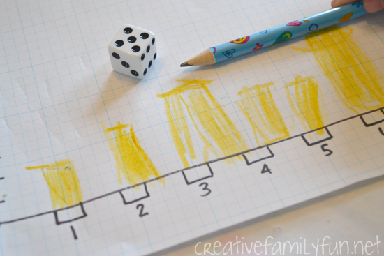 Practice graphing skills with this fun math Roll and Graph Game. It's easy to set up, fun to play, and you'll learn a lot too!