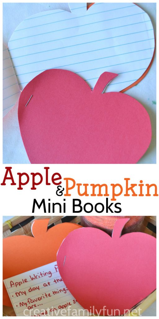 Make these simple DIY Pumpkin and Apple Mini Books to encourage writing. If you're stuck for ideas, try one of the seasonal writing prompts in the post.