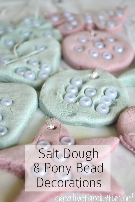 Use colored salt dough and pony beads to make these pretty salt dough ornaments that can be used for Christmas or year-round decorations.