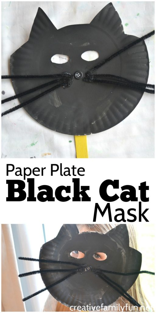 This paper plate Halloween Black Cat Mask is a little bit silly a little bit : paper plate halloween masks - pezcame.com