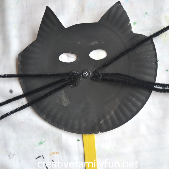 This paper plate Halloween Black Cat Mask is a little bit silly a little bit : cat paper plate - pezcame.com