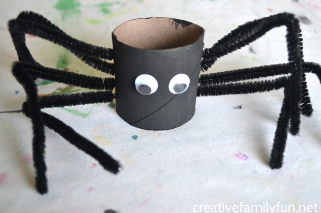 Spiders don't have to be scary, especially when make this fun and simple kids craft, a cardboard tube spider craft for Halloween.