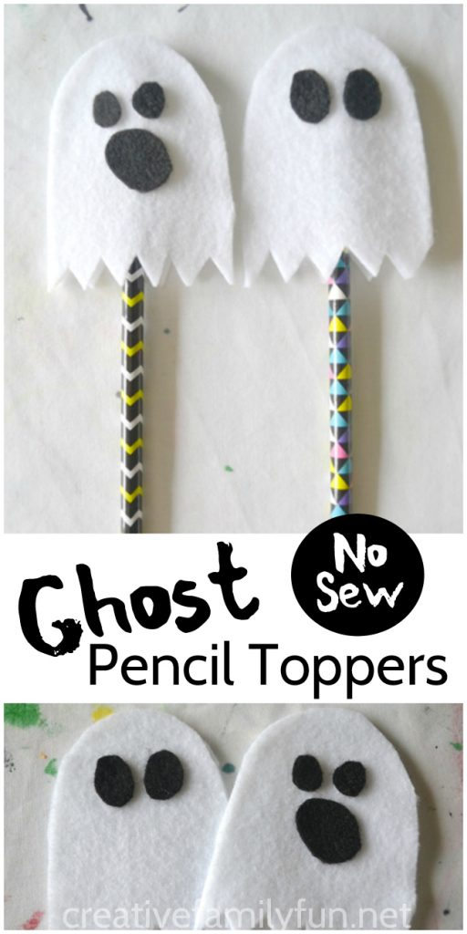 This no-sew ghost pencil topper is a fun Halloween gift that kids can make for their friends. Or, make a whole batch for a great non-food classroom treat.