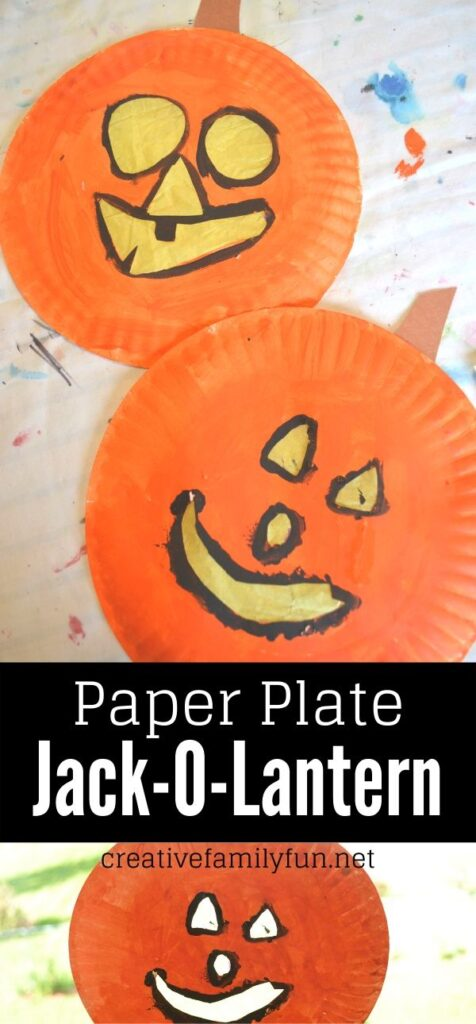 Grab some paper plates for this simple Halloween craft for kids: Paper Plate Jack-O-Lantern. It makes a great suncatcher too!