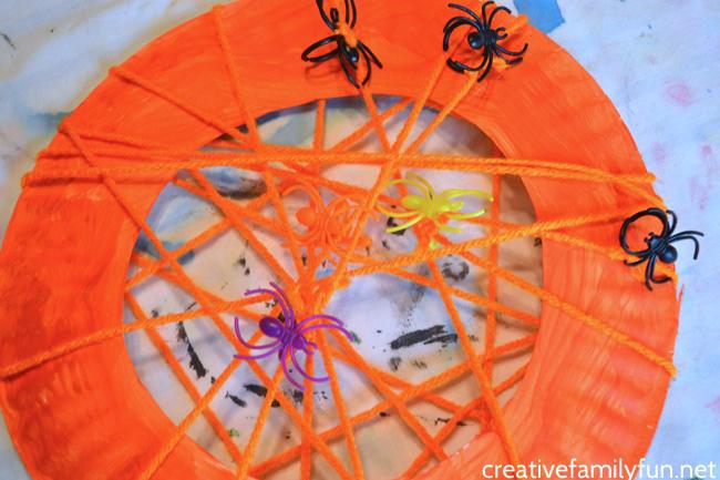 Spider Web Wreath Halloween Craft for Kids