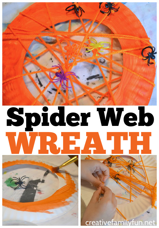Grab a paper plate and some yarn to weave your own web with this fun and spooky Spider Web Wreath Halloween craft for kids.