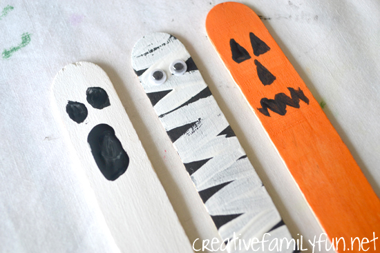 Halloween Puppets from Craft Sticks