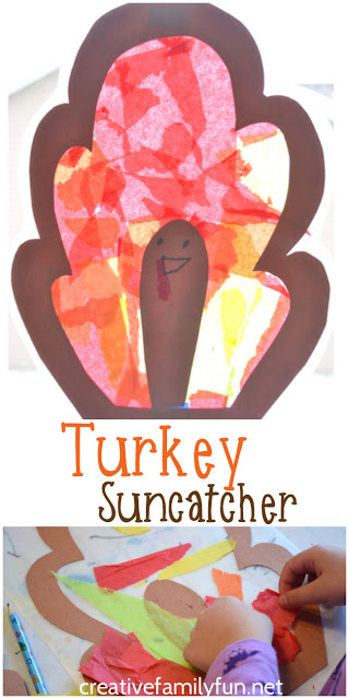 Brighten up your window with this colorful Thanksgiving craft for kids, Turkey Suncatcher. It's a fun craft for preschool and elementary kids. #Thanksgiving #kidscrafts #CreativeFamilyFun