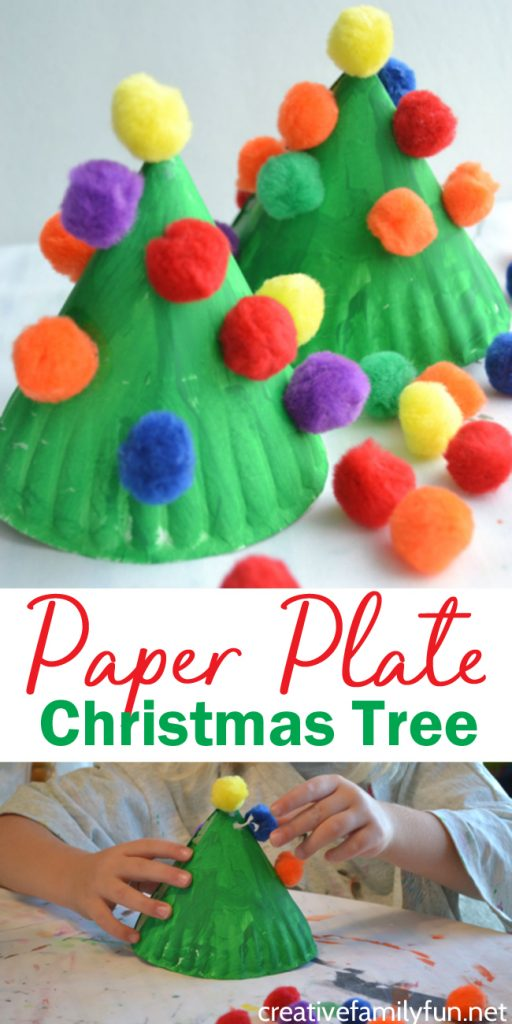 Make this fun and colorful Paper Plate Christmas Tree craft for kids or make several for a perfect kid-made Christmas decoration. #Christmas #kidscraft #CreativeFamilyFun