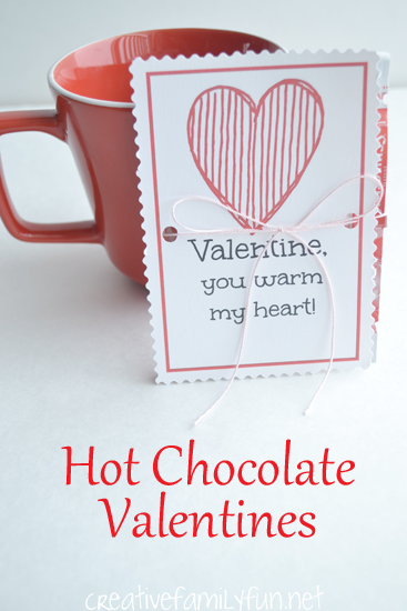 Give your friends a sweet and warm gift with these free printable Hot Chocolate Valentines. Just print, cut, and package with an envelope of cocoa. #ValentinesDay #Valentines #CreativeFamilyFun