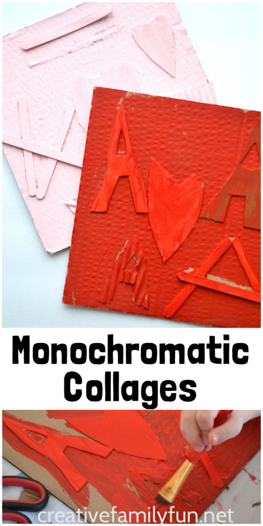Use recycled materials to make a fun Monochromatic Collage Valentine's Day art project. Make art using texture to create a stunning single color project. #ValentinesDay #kidsart #CreativeFamilyFun