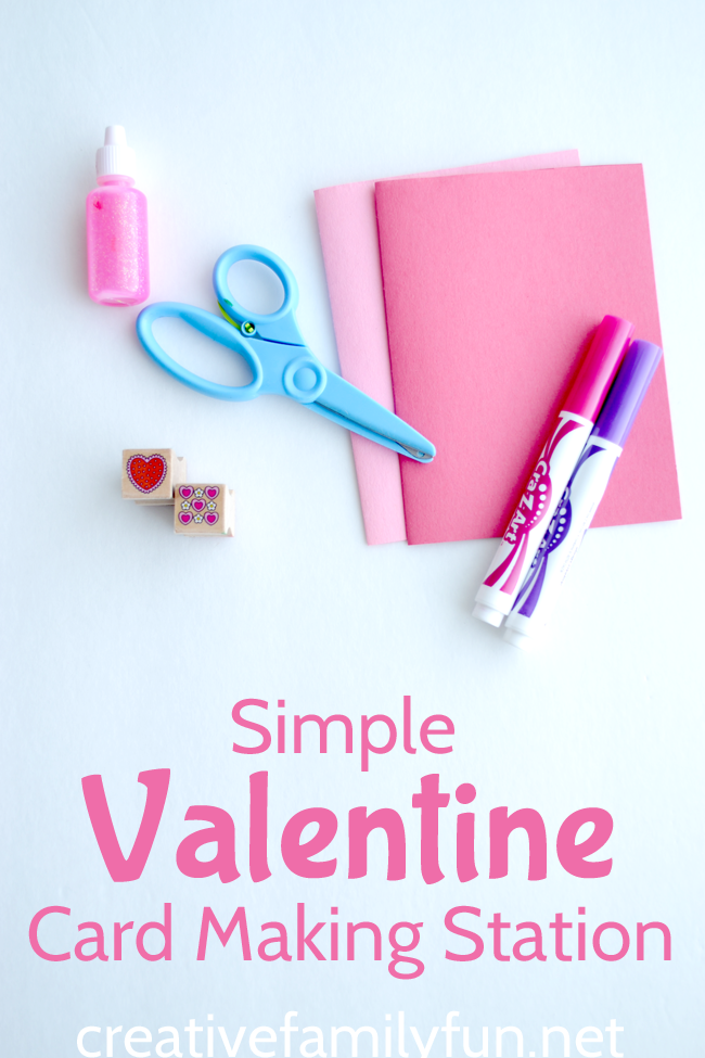 Explore open-ended creativity when you set up a simple Valentine card making station for kids. Grab a few simple supplies and get started crafting. #ValentinesDay #kidscrafts #CreativeFamilyFun
