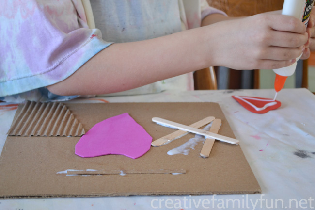 Use recycled materials to make a fun Monochromatic Collage Valentine's Day art project. Make art using texture to create a stunning single color project.
