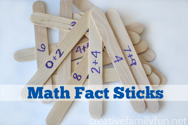 Math Fact Sticks are a fun and easy game to help your child learn math facts. Play this fun math game with one or two kids.